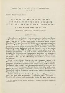 <Die> fusuliniden Foraminiferen aus dem Karbon undPertm im Velebit in der Like (Kroatien, Jugoslawien) / V. Kochansky-Devidé