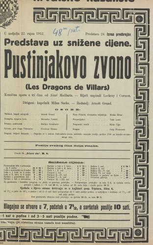Pustinjakovo zvono Komična opera u tri čina  =  Les Dragons de Villars