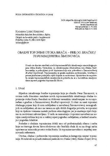 Obalni toponimi otoka Brača – prilog Bračkoj toponimiji Petra Šimunovića / Katarina Lozić Knezović