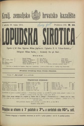 Lopudska sirotica Opera u tri čina