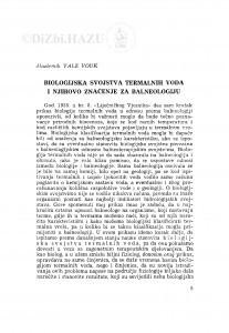 Biologijska svojstva termalnih voda i njihovo značenje za balneologiju / V. Vouk