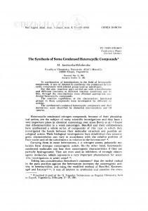 The synthesis of some condensed heterocyclic compounds / M. Jančevska-Nikolovska