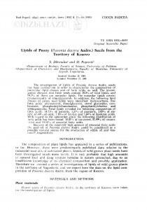 Lipids of Peony (Paeonia decora Andrs.) seeds from the territory of Kosovo / S. Dermaku, M. Popović