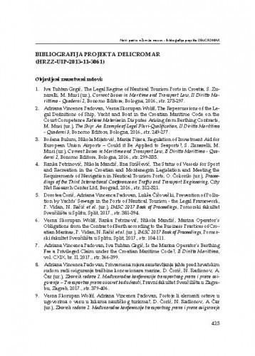Bibliografija projekta DELICROMAR (HRZZ-UIP-2013-11-3061)