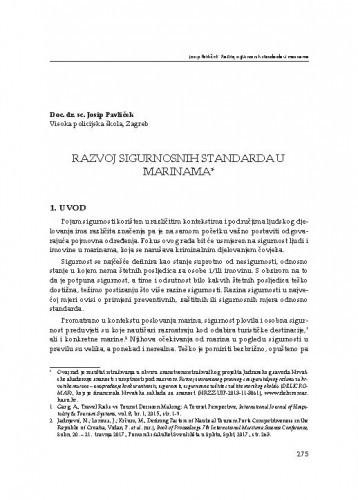 Razvoj sigurnosnih standarda u marinama / Josip Pavliček