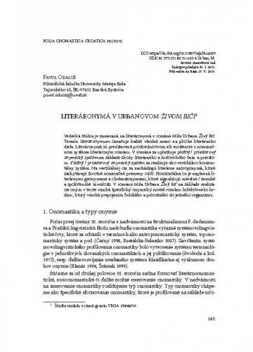 Literáronymá v Urbanovom Živom biči / Pavol Odaloš