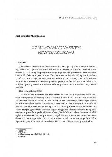 O zakladama u važećem hrvatskom pravu : [uvodno izlaganje] / Mihajlo Dika