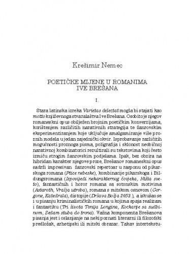 Poetičke mijene u romanima Ive Brešana / Krešimir Nemec