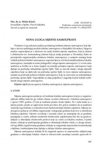 Nova uloga mjesne samouprave : [uvodno izlaganje] / Mirko Klarić
