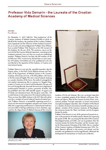 Professor Vida Demarin - the Laureate of the Croatian Academy of Medical Sciences : [News & Education] / Filip Đerke