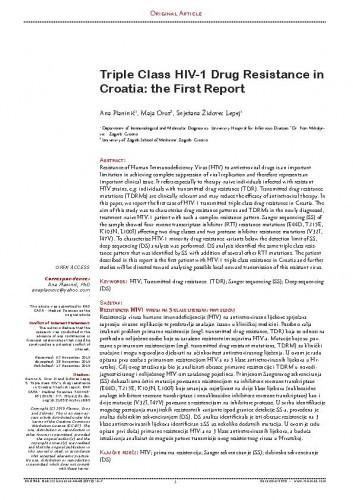 Triple Class HIV-1 Drug Resistance in Croatia: the First Report / Ana Planinić, Maja Oroz, Snježana Židovec Lepej