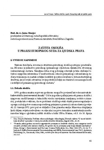 Zaštita okoliša u praksi Europskog suda za ljudska prava : [uvodno izlaganje] / Jasna Omejec