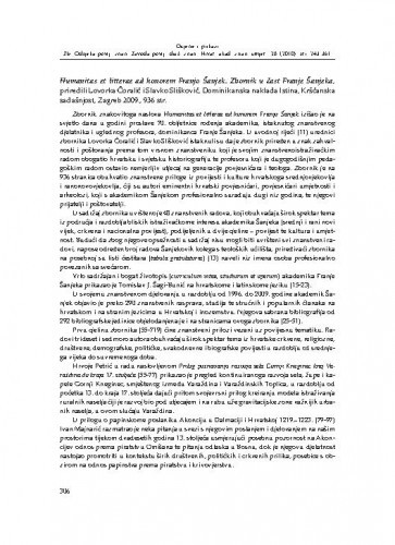 Humanitas et litterae ad honorem Franjo Šanjek. Zbornik u čast Franje Šanjeka, priredili Lovorka Čoralić i Slavko Slišković, Dominikanska naklada Istina, Kršćanska sadašnjost, Zagreb 2009. : [prikaz] / Zrinka Novak