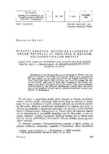 Planovi Čakovca, Kotoribe i Legrada iz druge polovice 17. stoljeća u Bečkom vojnopovijesnom muzeju / Miroslav Klemm