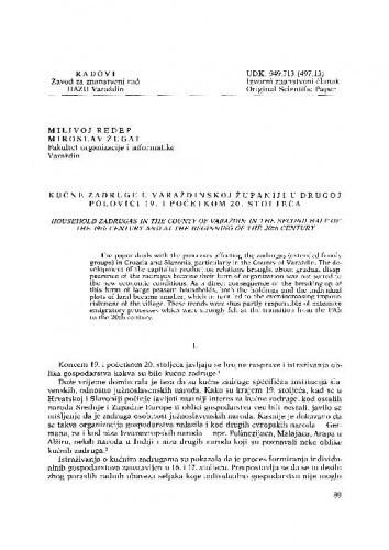 Kućne zadruge u Varaždinskoj županiji u drugoj polovici 19. i početkom 20. stoljeća / Milivoj Ređep, Miroslav Žugaj