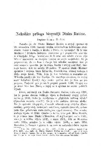 Nekoliko priloga biografiji Dinka Rańine / Šime Urlić