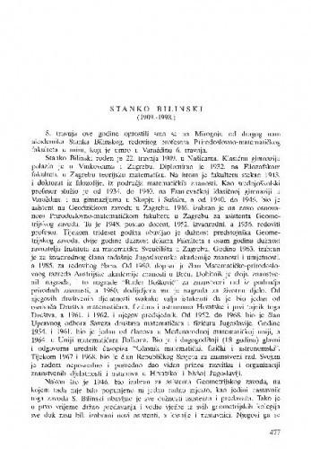 Stanko Bilinski (1909.-1998.) / Vladimir Volenec