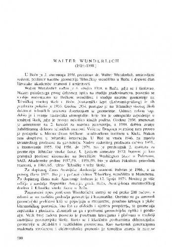 Walter Wunderlich (1910.-1998.) / Sibe Mardešić