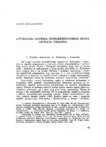 Liturgijski kodeksi svetokrševanskog opata Deodata Venijera / Josip Kolanović