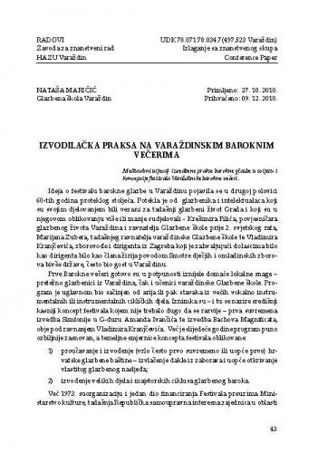 Izvodilačka praksa na Varaždinskim baroknim večerima / Nataša Maričić