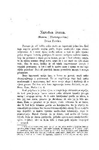 Narodna imena : (Bosna i Hercegovina.) / I. Zovko