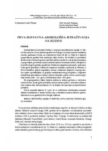 Prva sustavna arheološka istraživanja na Rudini / Dubravka Sokač-Štimac