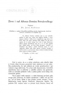Život i rad Alfonza Domina Petruševečkoga / J. Andrassy