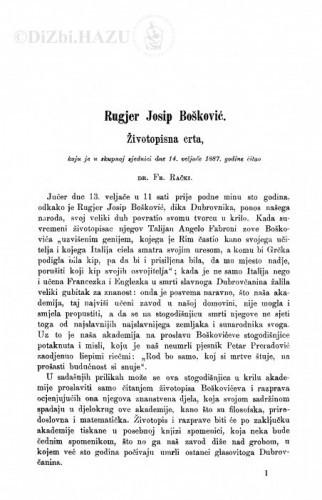Rugjer Josip Bošković : životopisna crta / F. Rački