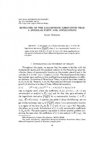 Estimates of the logarithmic derivative near a singular point and applications / Saada Hamouda