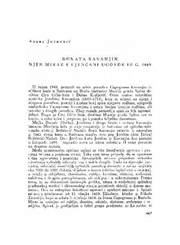 Dunata Kavanjin : njen miraz i vjenčani ugovor iz g. 1669. / Andre Jutronić
