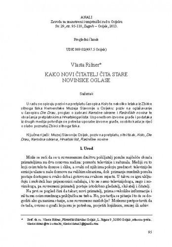 Kako novi čitatelj čita stare novinske oglase / Vlasta Rišner