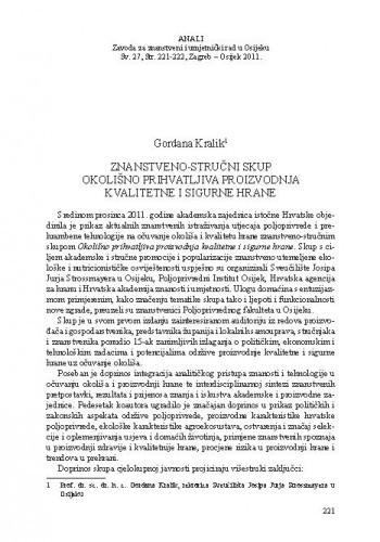 Znanstveno-stručni skup Okolišno prihvatljiva proizvodnja kvalitetne i sigurne hrane / Gordana Kralik