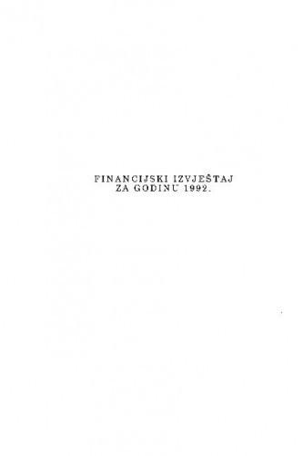 Financijski izvještaj za godinu 1992.