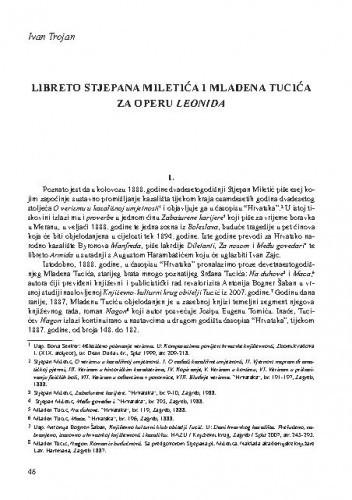 Libreto Stjepana Miletića i Mladena Tucića za operu Leonida / Ivan Trojan