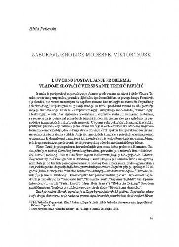 Zaboravljeno lice moderne: Viktor Tausk / Sibila Petlevski
