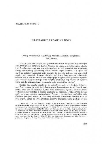 Najstarije zadarske note : prilog proučavanju najstarijeg razdoblja glazbene umjetnosti kod Hrvata / Marijan Grgić