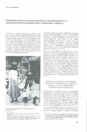 Ekonomsko-socijalni sastav seljaštva i seoskih naselja na kasnofeudalnim vlastelinstvima baranjskog trokuta