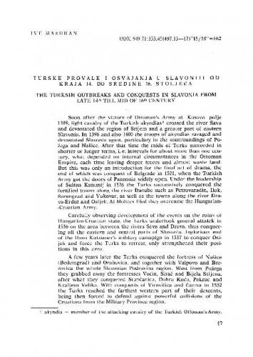 Turske provale i osvajanja u Slavoniji od kraja 14. do sredine 16. stoljeća / Ive Mažuran