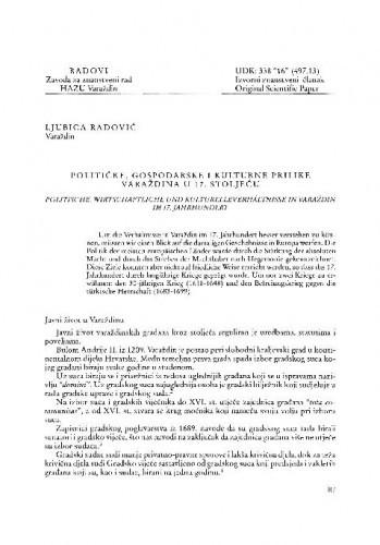 Političke, gospodarske i kulturne prilike u Varaždinu u 17. stoljeću / Ljubica Radović