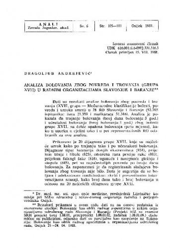 Analiza bolovanja zbog povreda i trovanja (grupa XVII) u radnim organizacijama Slavonije i Baranje / Dragoljub Andrejević