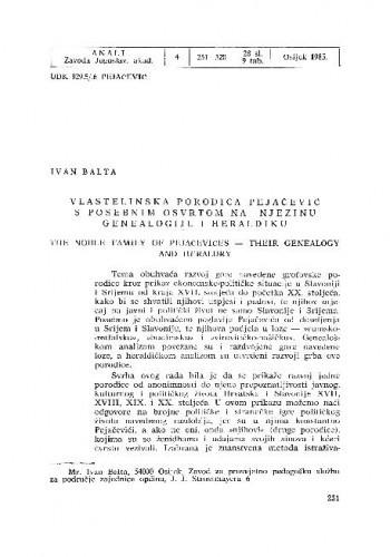 Vlastelinska porodica Pejačević : s posebnim osvrtom na njezinu genealogiju i heraldiku / Ivan Balta