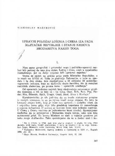 Upravni položaj Lošinja i Cresa iza pada Mletačke Republike i stanje njihova brodarstva nakon toga / Vjekoslav maštrović