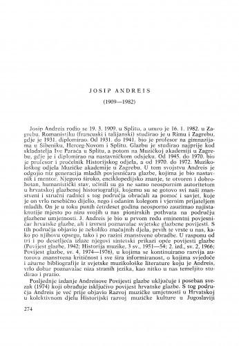 Josip Andreis (1909-1982) : [nekrolozi] / I. Supičić