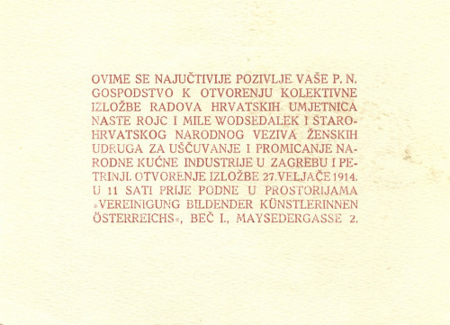 Pozivnica za izložbu Naste Rojc i Mile Wod, Beč, 1914.