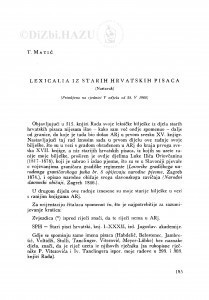 Lexicalia iz starih hrvatskih pisaca : (nastavak) / T. Matić