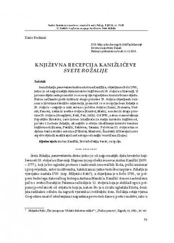 Književna recepcija Kanižlićeve Svete Rožalije / Dario Budimir