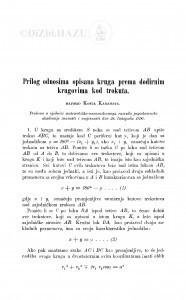Prilog odnosima opisana kruga prema dodirnim krugovima kod trokuta / K. Karamata