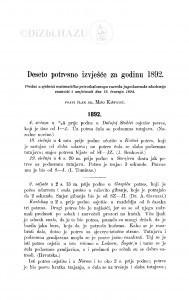 Deseto potresno izvješće  za godinu 1892. / M. Kišpatić