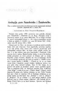 Geologija gore Samoborske i Žumberačke / D. Gorjanović-Kramberger