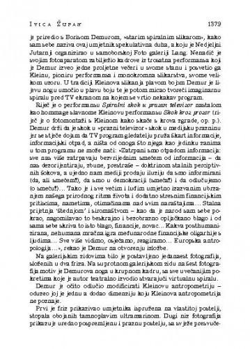 Boris Demur i Damian Nenadić: Manifestacija spirale povodom Yvesa Kleina, Foto Galeriji Lang, Samobor, od 23. IX. - 7. X., kustos Željko Kipke : [likovna kronika] / Ivica Župan